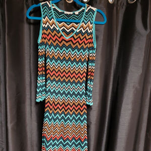 Cato XS Teal/Brown/Orange/White Chevron pattern kn